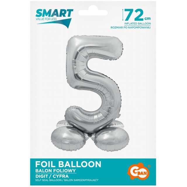 Balon foliowy Smart - Cyfra 5 stojąca srebrna Godan 28