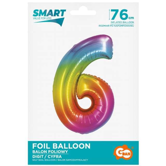 Balon foliowy Smart - Cyfra 6 tęczowy Godan 30 SHP