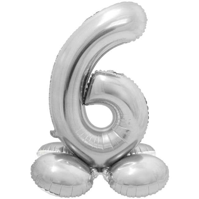 Balon foliowy Smart - Cyfra 6 stojąca srebrna Godan 28