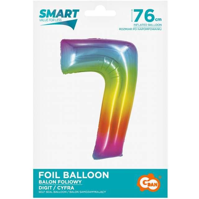 Balon foliowy Smart - Cyfra 7 tęczowa Godan 30 SHP