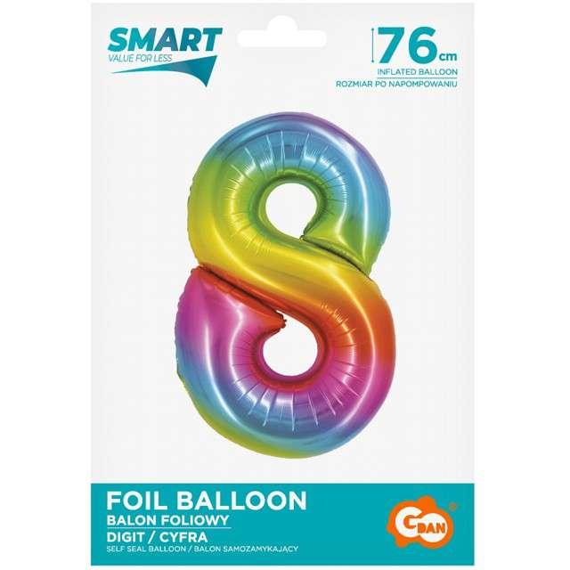 Balon foliowy Smart - Cyfra 8 tęczowy Godan 30 SHP