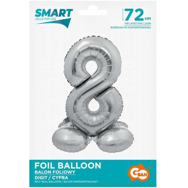 Balon foliowy Smart - Cyfra 8 stojąca srebrny Godan 28