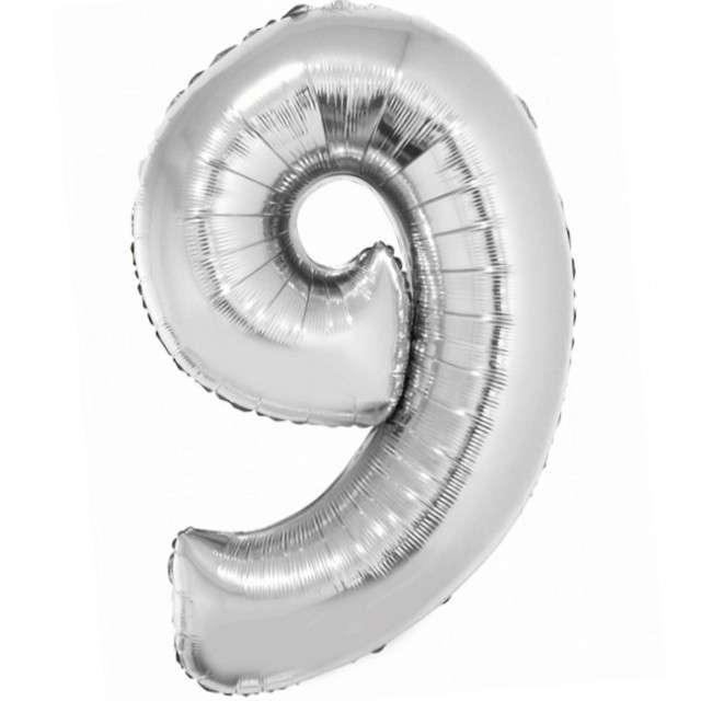 Balon foliowy Smart - Cyfra 9 srebrny Godan 30 SHP