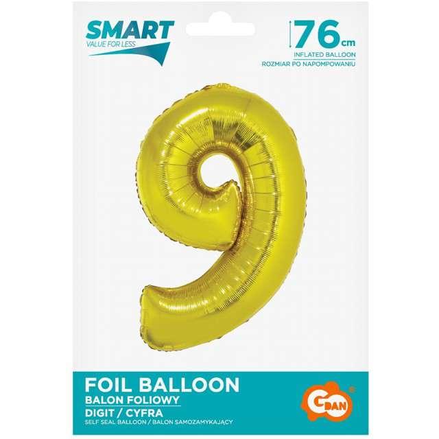Balon foliowy Smart - Cyfra 9 złoty Godan 30 SHP