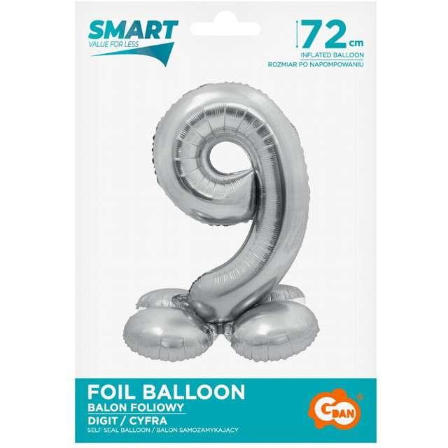 Balon foliowy Smart - Cyfra 9 stojąca srebrny Godan 28 SHP