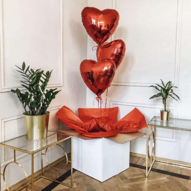 Pudełko na balony Suprise - Be happy białe Godan 50 cm