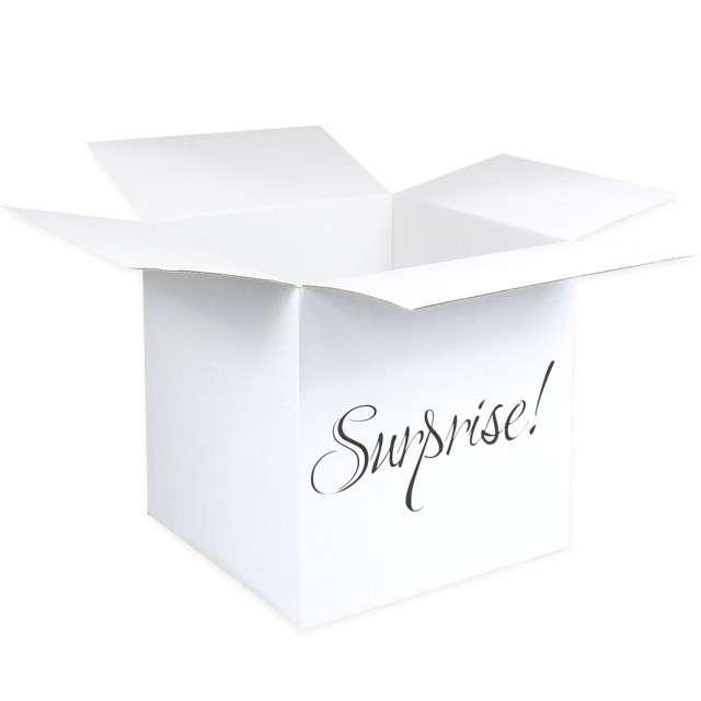 Pudełko na balony Suprise - Niespodzianka białe Godan 50 cm