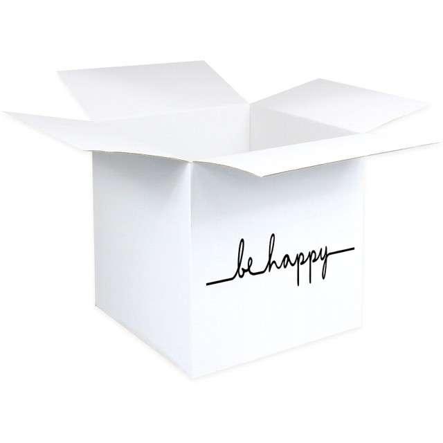 Pudełko na balony Suprise - Be happy białe Godan 65 cm
