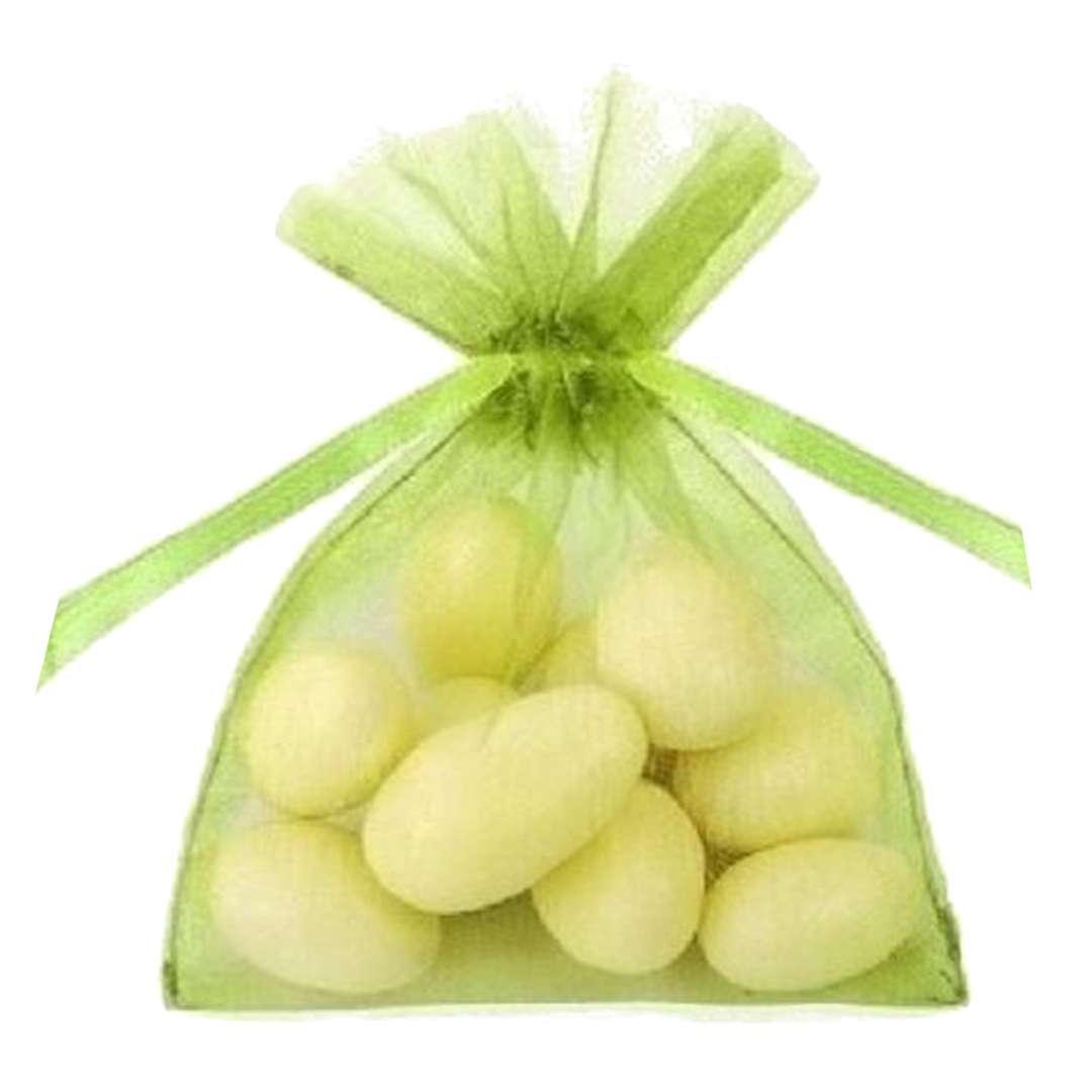 """Woreczki z organzy """"Ściągane - proste"""", zielone jabłuszko, PartyDeco 10 cm, 20 szt"""