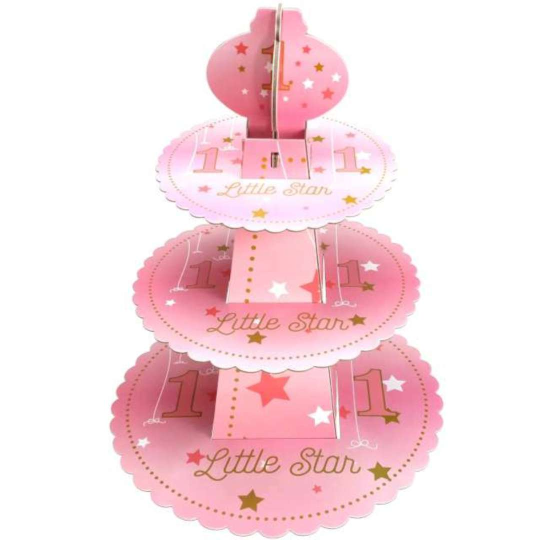 Patera papierowa 1 Urodziny -Little Star różowa JIX