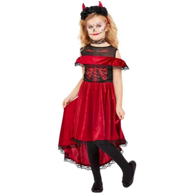 """Strój dla dzieci """"Diablica w opasce"""", czerwono-czarny, Smiffys, rozm. S"""