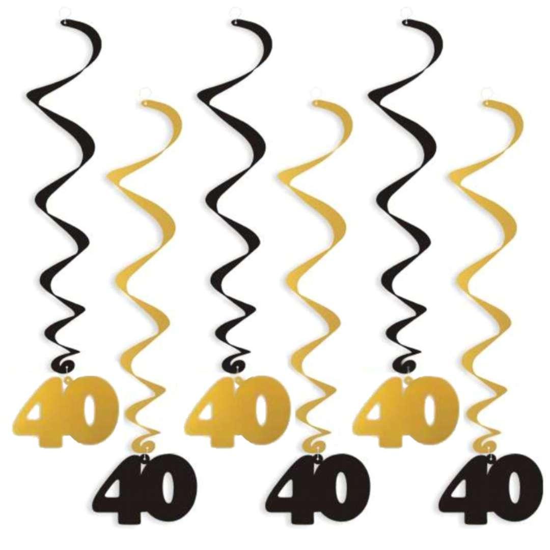"""Świderki wiszące """"Urodziny 40"""", czarno-złote, 6 szt"""