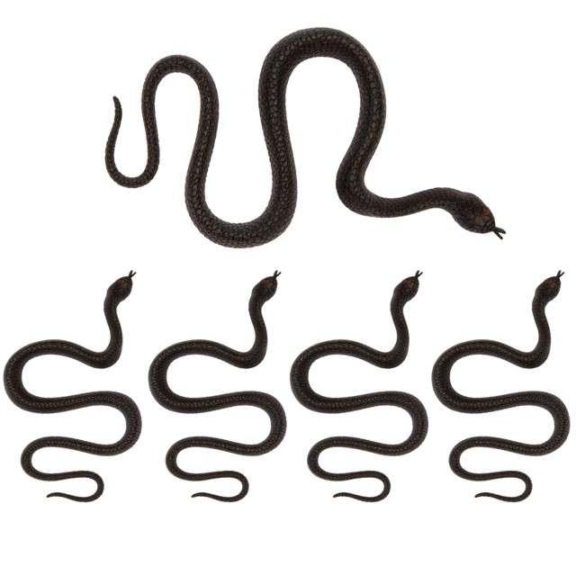 _xx_5 węży z czarnego plastiku Długość 35 cm