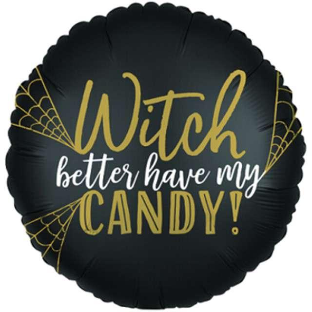 "Balon foliowy ""Witch candy"", czarny, Amscan, 17"", RND"