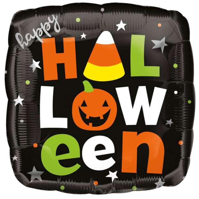 "Balon foliowy ""Happy Halloween"", czarny, Amscan, 16"", SQR"
