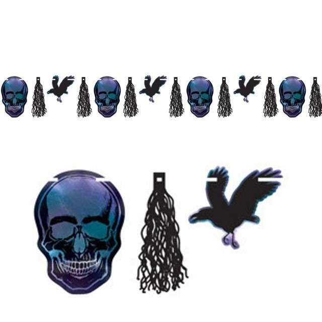 """Girlanda """"Czaszki, kruki, frędzle - Halloween"""", holograficzna, Amscan, 300 cm"""