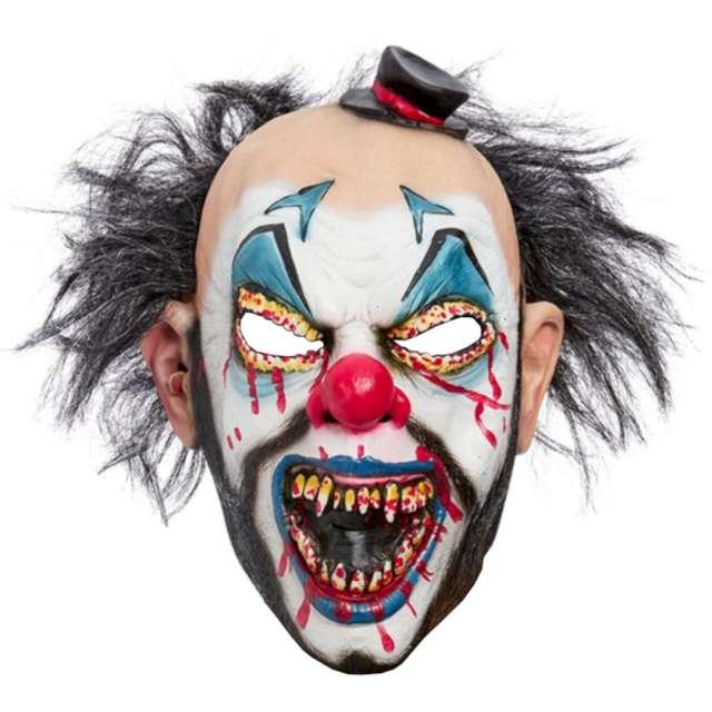 Maska Klaun Mroczny z ciemnymi włosami lateksowa Smiffys