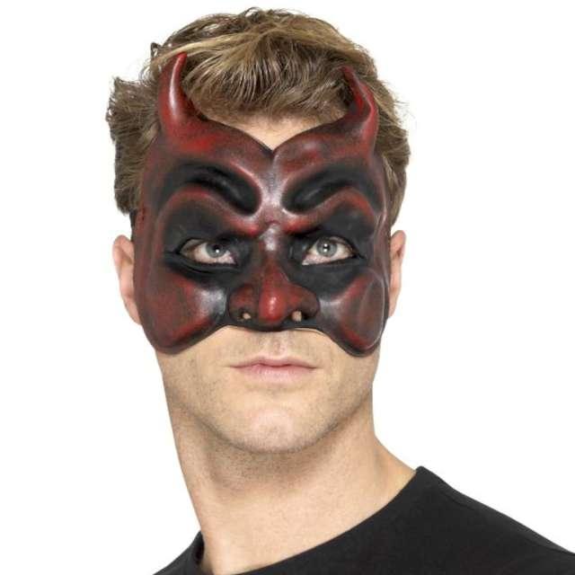"""Maska party """"Diabeł"""", czerwono-czarna, lateksowa, Smiffys"""