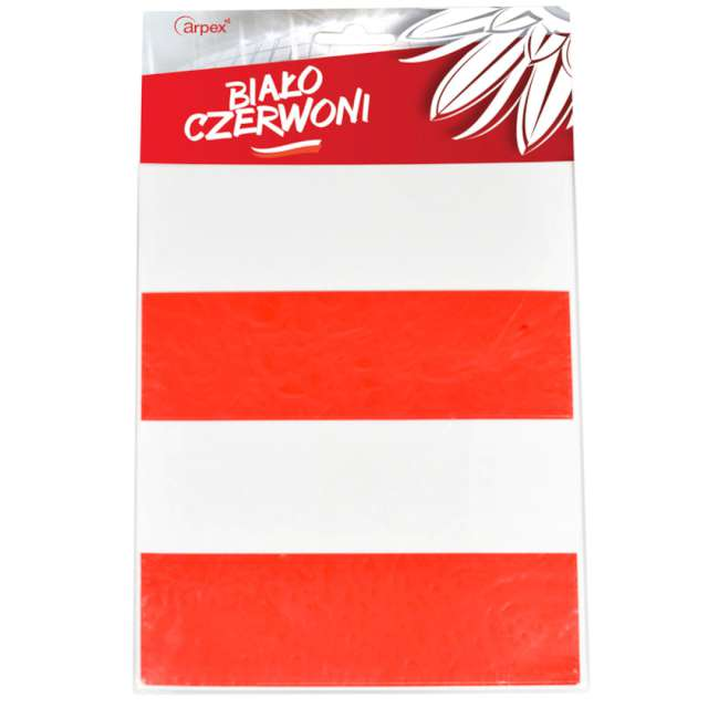 """Folia elektrostatyczna """"Kibic"""", biało-czerwona, Arpex, 26 x 16 cm"""