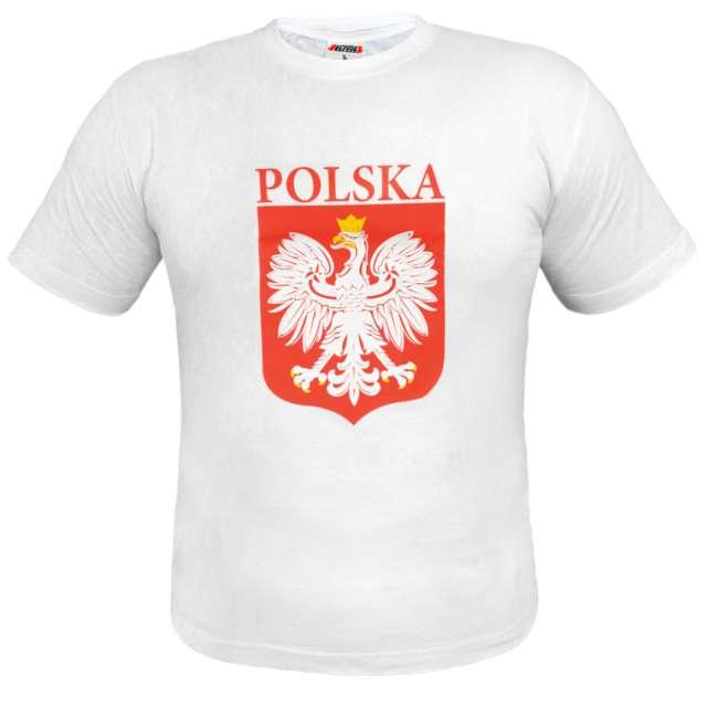 """T-shirt z nadrukiem """"Polska - orzeł biały"""", biała, Arpex, L"""