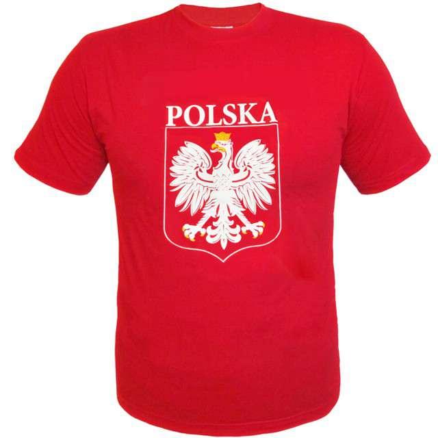 """T-shirt z nadrukiem """"Polska - orzeł biały"""", czerwony Arpex, L"""