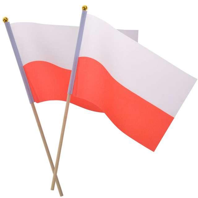 """Flagi na patyczku """"POLSKA"""", Arpex, 30 cm, 2 szt"""