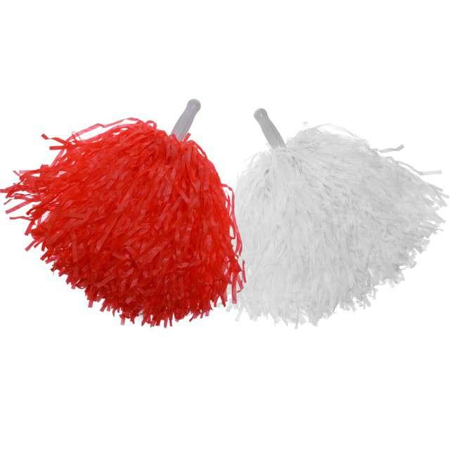 """Pompony """"Czirliderka"""", biało-czerwone, Arpex, 2 szt"""