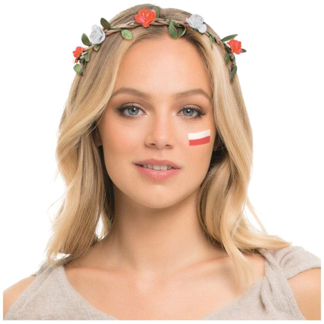 Opaska party Biało-czerwone kwiatki Arpex