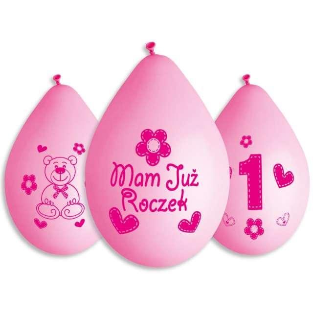 Balony Mam już roczek - Miś różowe Gemar 5szt