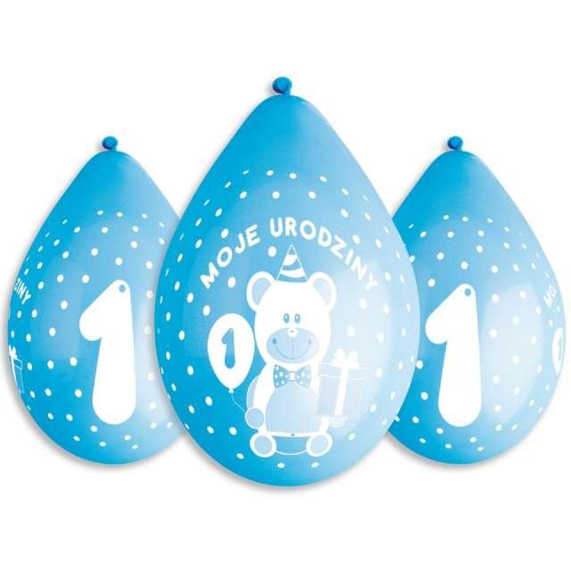 Balony Moje 1 urodziny - Miś niebieskie Gemar 5szt