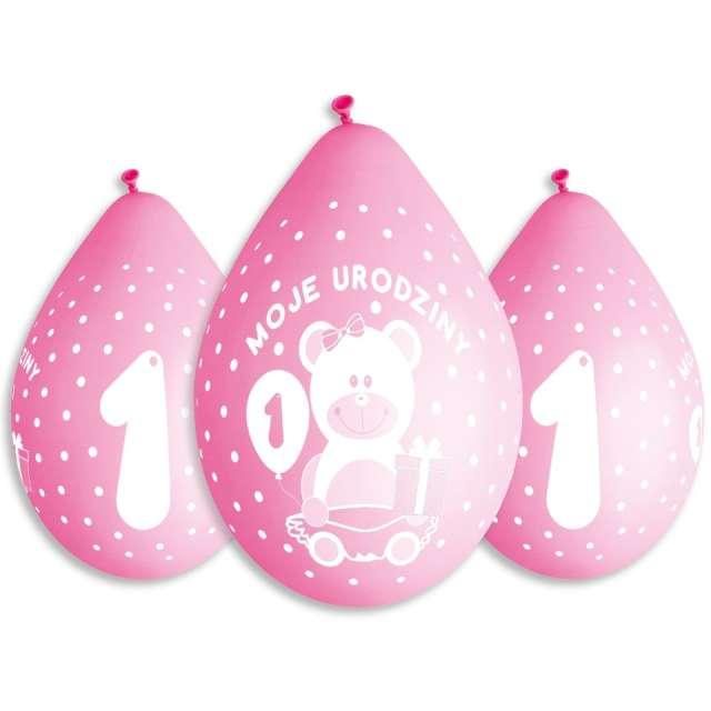 Balony Moje 1 urodziny - Miś różowe Gemar 5szt