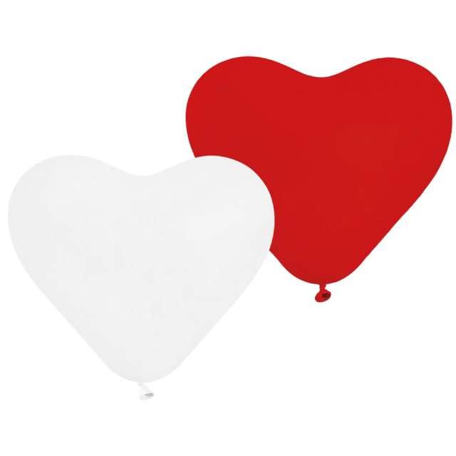 Balony Serca biało-czerwone Gemar 10 5 szt