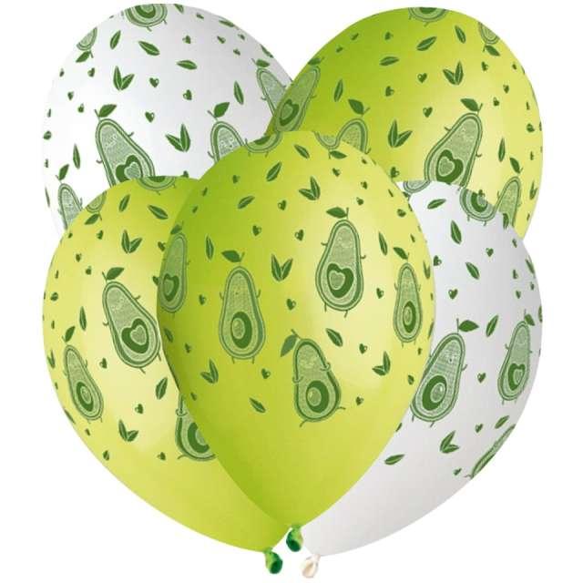 """Balony """"Avocado"""", biało-zielone, Gemar, 13"""", 5 szt"""