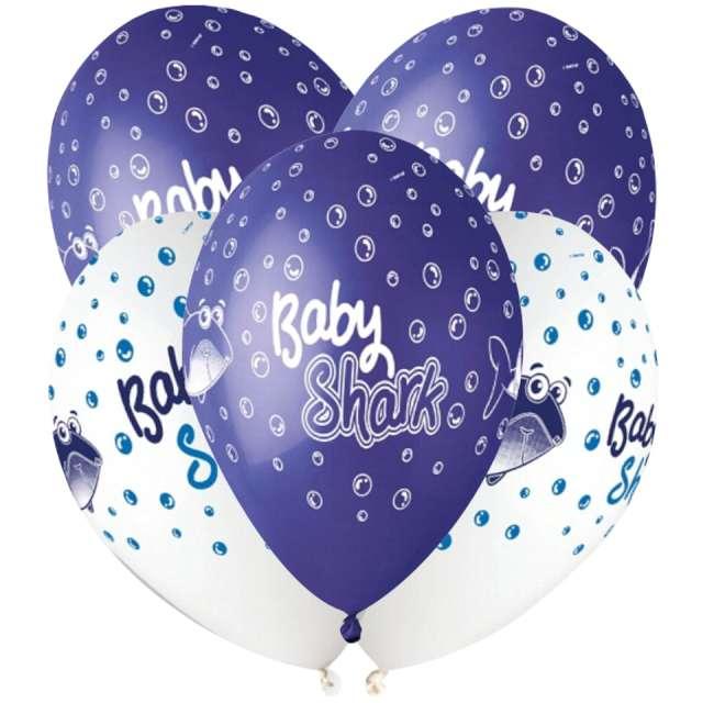 """Balony """"Rekiny"""", granatowo-białe, Gemar, 13"""", 5 szt"""