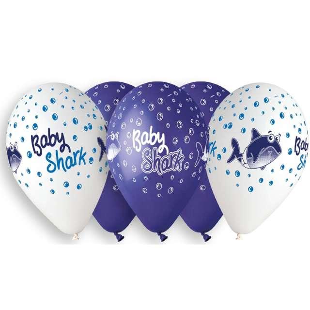 Balony Rekiny granatowo-białe Gemar 13 5 szt