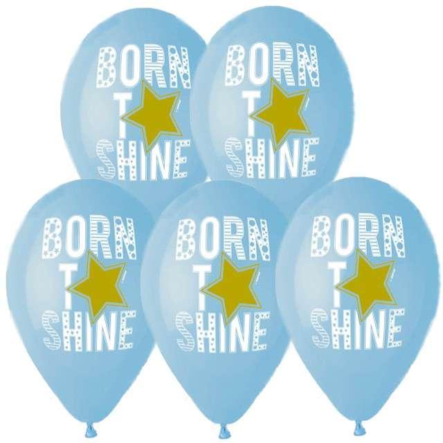 Balony Balony Born to shine niebieskie Gemar 13 5 szt