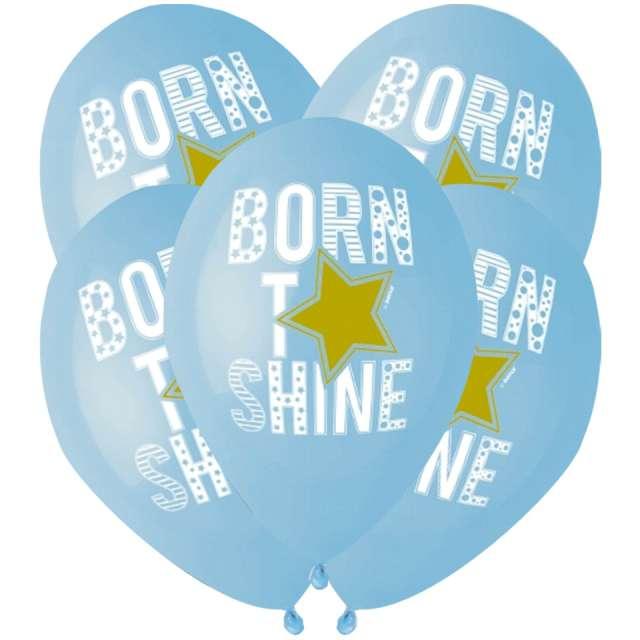 """Balony Balony """"Born to shine"""", niebieskie, Gemar, 13"""", 5 szt"""
