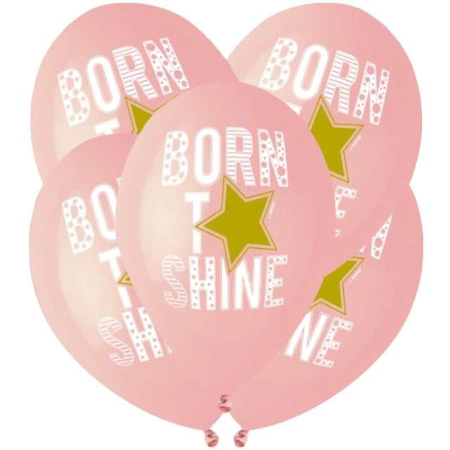 """Balony """"Born to shine"""", różowe, Gemar, 13"""", 5 szt"""