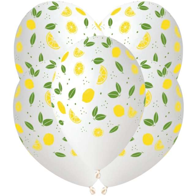 Balony Cytryny białe Gemar 13 5 szt