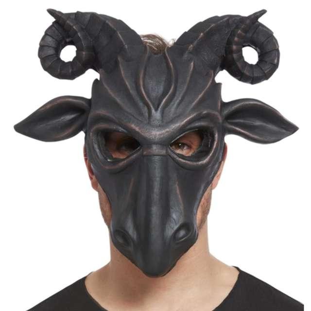 Maska Diabelski Kozioł lateksowa czarna Smiffys