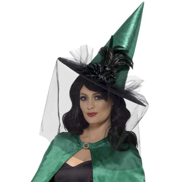 Kapelusz Czarownica Deluxe - Welon z piórem zielony Smiffys