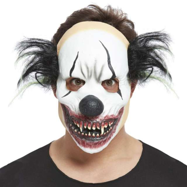 """Maska """"Klaun Mroczny z czarnymi włosami"""", lateksowa, Smiffys"""
