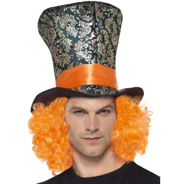 Kapelusz Cylinder kapelusznika z włosami - zdobiony Smiffys