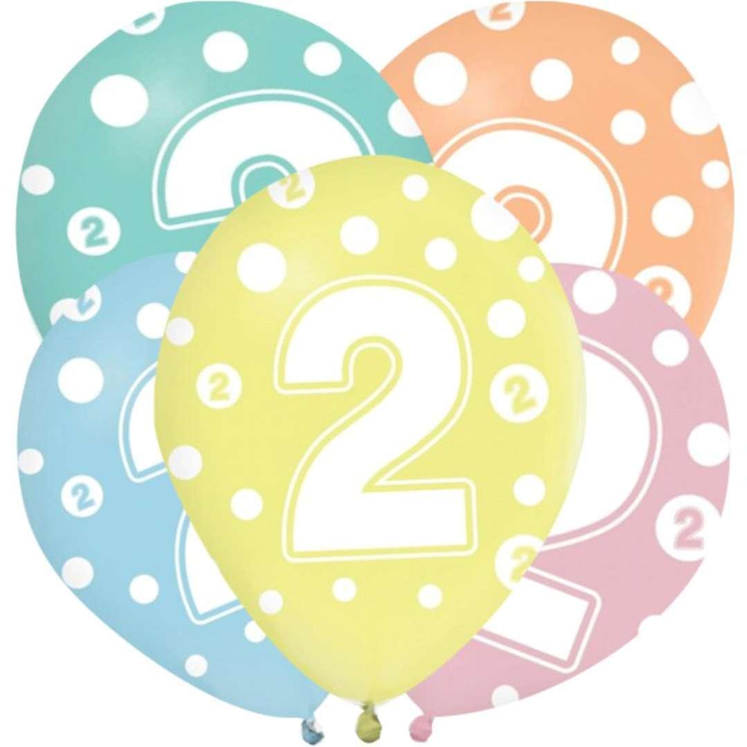 """Balony """"2 latka"""", mix, Godan, 12"""", 5 szt"""