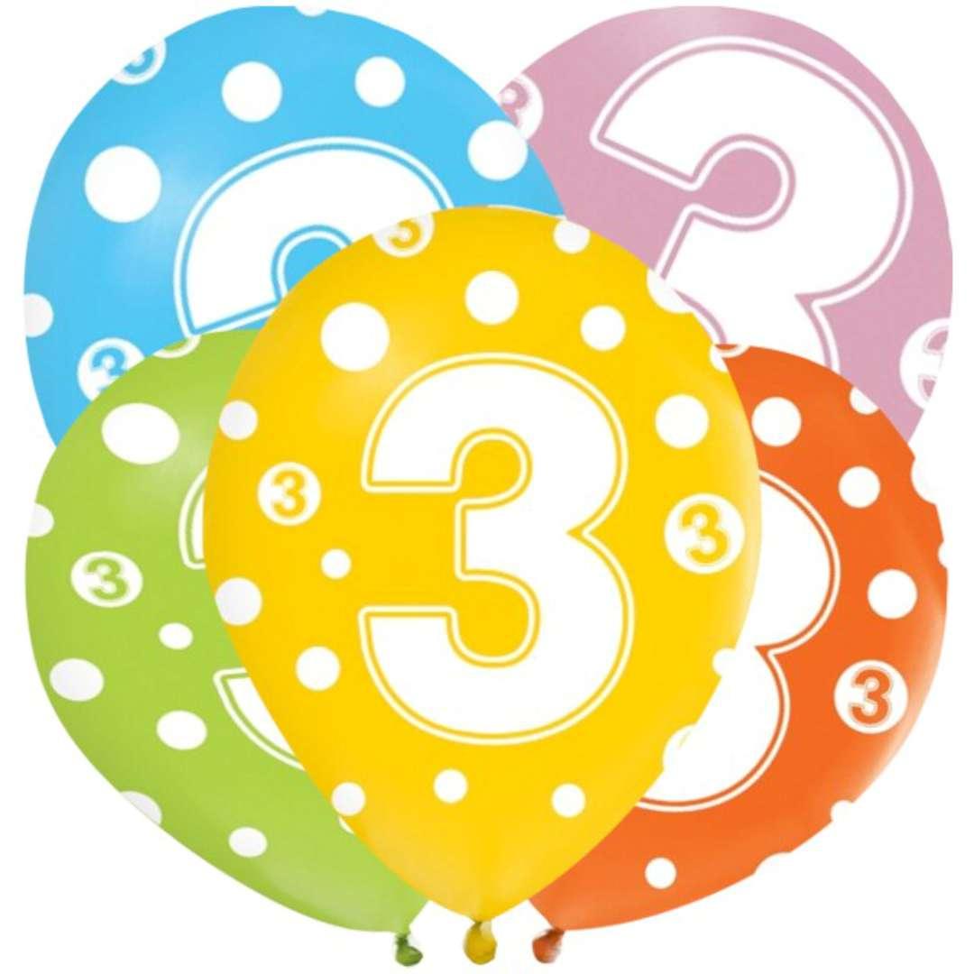 """Balony """"3 latka"""", mix, Godan, 12"""", 5 szt"""