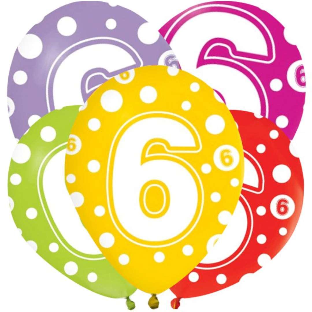 """Balony """"6 lat"""", mix, Godan, 12"""", 5 szt"""