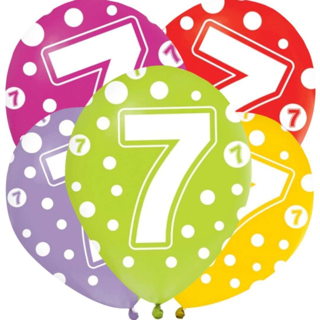"""Balony """"7 lat"""", mix, Godan, 12"""", 5 szt"""
