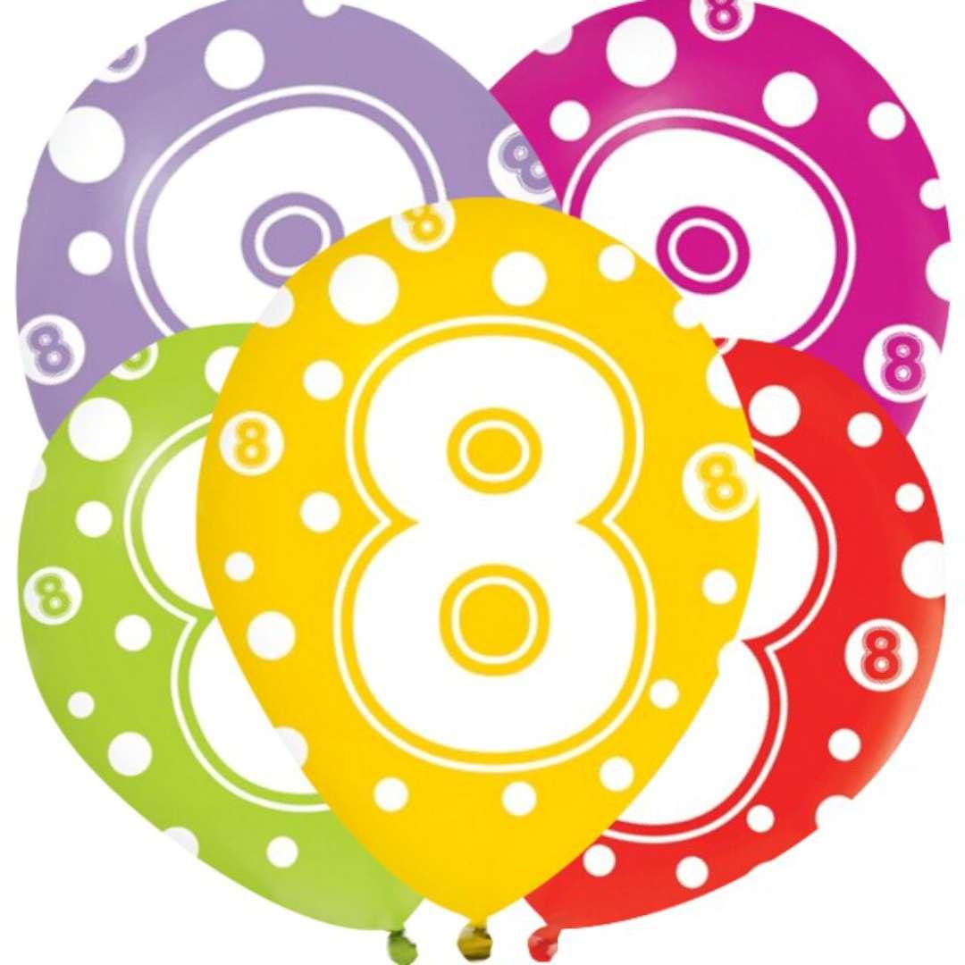 """Balony """"8 lat"""", mix, Godan, 12"""", 5 szt"""
