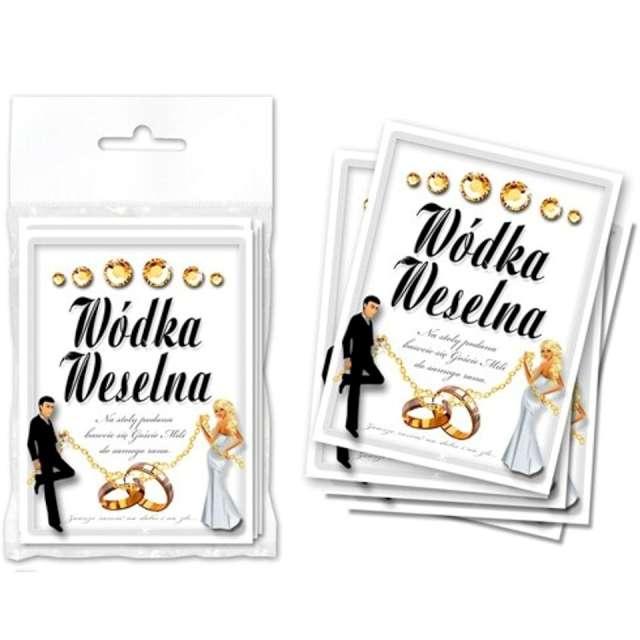 Etykiety na butelkę Wódka Weselna: biało-złota DekoracjePolska 25szt