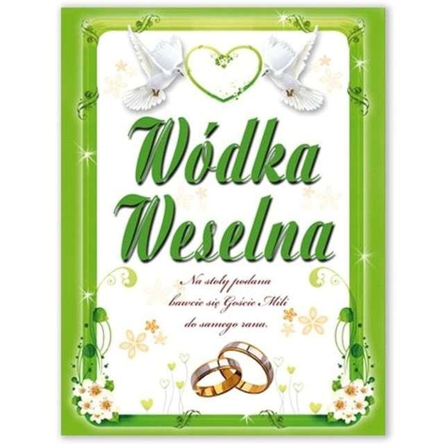 """Etykiety na butelkę """"Wódka Weselna: zielona"""", DekoracjePolska, 25szt"""